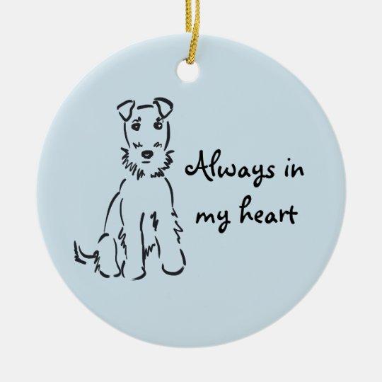 Souvenir personnalisable de mémoire de chien ornement rond en céramique