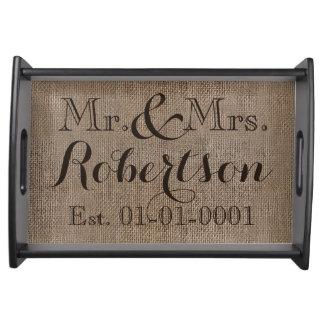 Souvenir rustique personnalisé de mariage de Toile Plateau Repas