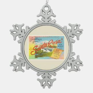 Souvenir vintage de voyage de Santa Rosa Nouveau Ornement Flocon De Neige Pewter