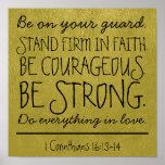 Soyez affiche courageuse et forte de vers de bible