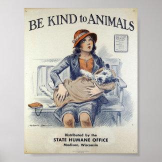 Soyez aimable avec des animaux - poster vintage