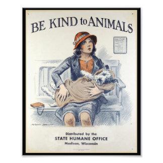 Soyez aimable avec des animaux - poster vintage photographie d'art