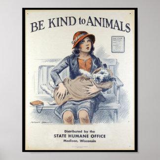 Soyez aimable avec des animaux - poster vintage posters