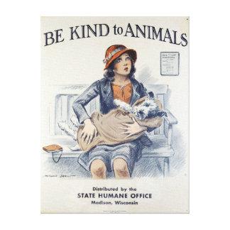 Soyez aimable avec des animaux - poster vintage toiles