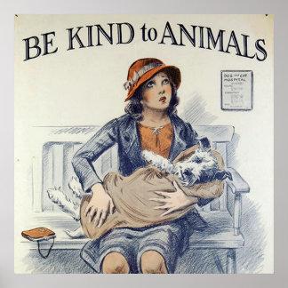 Soyez aimable avec l'affiche d'animaux affiches