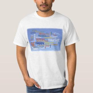 Soyez heureux que nuage de mot en ciel bleu t-shirt