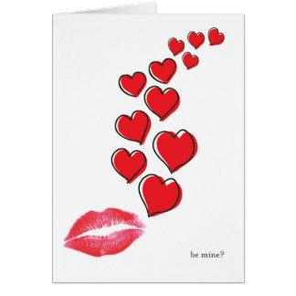 soyez le mien ? carte de valentine de lèvres et de
