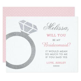 Soyez ma conception de bague à diamant de la carte carton d'invitation 10,79 cm x 13,97 cm