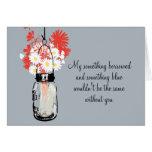 Soyez ma demoiselle d'honneur - pot et fleurs sauv carte de vœux