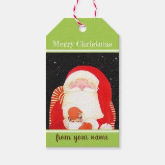 Soyez Père Noël gai et les étiquettes classiques