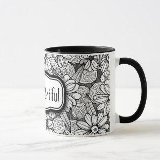 soyez•Vous•floral noir et blanc tiful (11 onces. Tasse