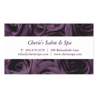 Spa - carte de visite pourpre de roses de salon