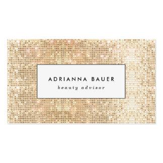Spa élégant de beauté de motif de paillette d'or carte de visite standard