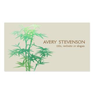 Spa en bambou vert élégant simple de santé de carte de visite standard