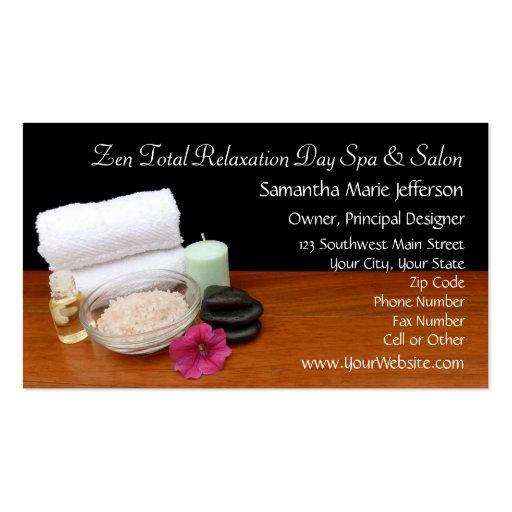 Spa/noir/couleur de scène salon de massage/pédicur cartes de visite professionnelles