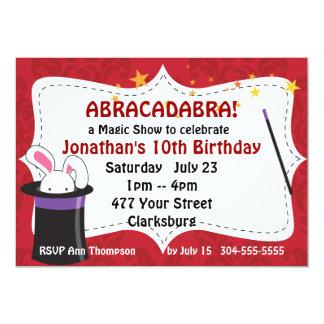 Spectacle de magie d'abracadabra carton d'invitation  12,7 cm x 17,78 cm