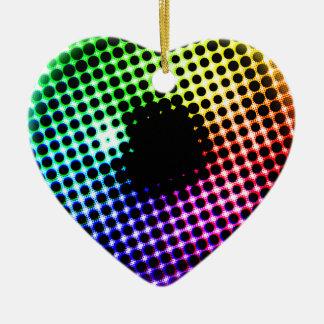Spectre de couleur d'oeil de licorne d'iris ornement cœur en céramique