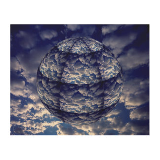 Sphère abstraite du nuage 3D Impression Sur Bois