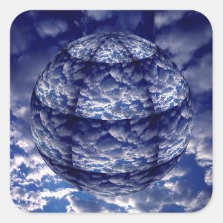 Sphère abstraite du nuage 3D Sticker Carré