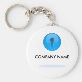 Sphère bleue avec le porte - clé personnalisable porte-clé rond