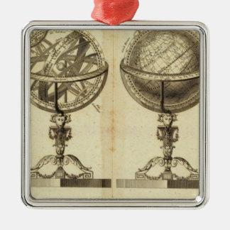 Sphères du globe ornement carré argenté