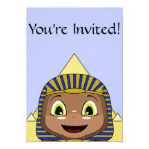 Sphinx de Chibi avec des pyramides Carton D'invitation 12,7 Cm X 17,78 Cm