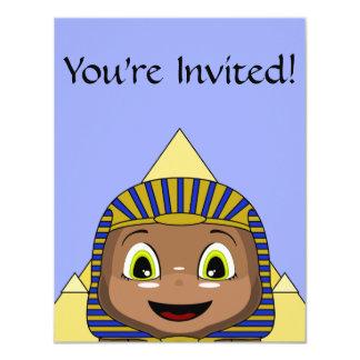 Sphinx de Chibi avec des pyramides Carton D'invitation 10,79 Cm X 13,97 Cm