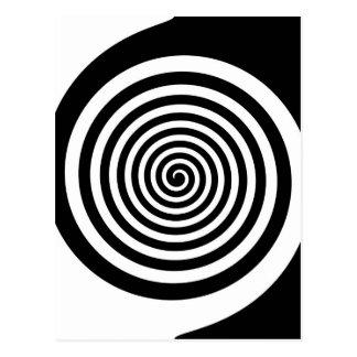 Spirale hypnotique noire et blanche carte postale