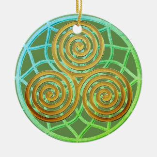 Spirale rêveuse de triple de receveur ornement rond en céramique