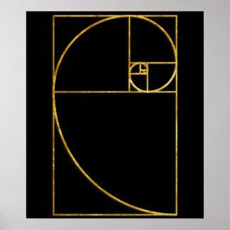 Spirale sacrée de Fibonacci de rapport d'or Affiche