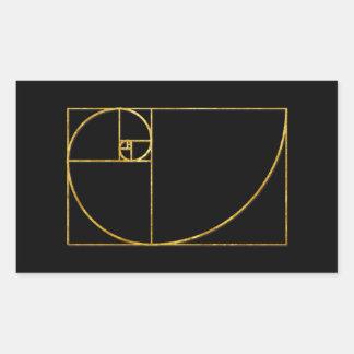 Spirale sacrée de Fibonacci de rapport d'or Sticker Rectangulaire