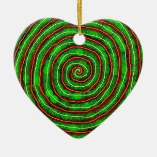 Spirale verte ornement cœur en céramique