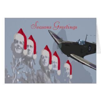 Spitfire et pilotes de carte de Noël