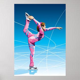 Sport d'hiver femelle de patineur artistique d'aff affiches