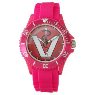 Sportif avec le vétérinaire rose de montre de montres cadran