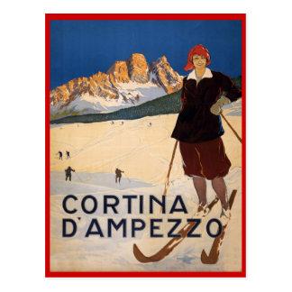 Sports d hiver vintages ski Cortina d Ampezzo Carte Postale