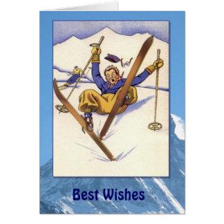 Sports d'hiver - dégringolade vintage dans la carte de vœux