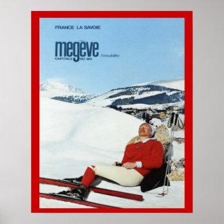 Sports d'hiver vintages, France, la Savoie, Megeve Affiches