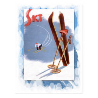 Sports d'hiver vintages - kit de ski carte postale