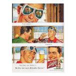 Sports d'hiver vintages, publicité de bière cartes postales