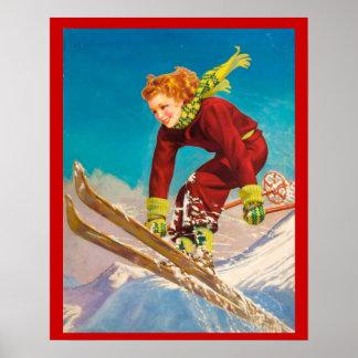 Sports d'hiver vintages, pullover de ski de Madame Affiche