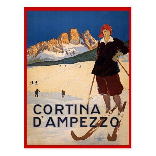 Sports d'hiver vintages, ski Cortina d'Ampezzo, Carte Postale