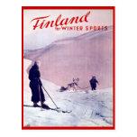 Sports d'hiver vintages, ski Finlande Cartes Postales
