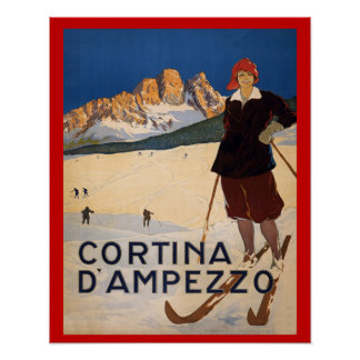 Sports d'hiver vintages, ski Italie, Cortina d'Amp Affiche