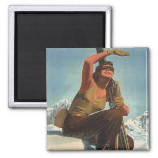 Sports d'hiver vintages, ski Italie, Val d'Aoste Magnet Carré