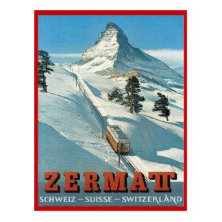 Sports d'hiver vintages, ski Zermatt, Suisse Carte Postale