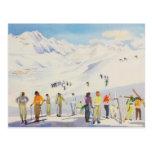 Sports d'hiver vintages, skieurs sur les pistes carte postale