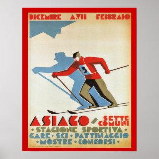 Sports d'hiver vintages, station de ski de l'Itali Poster