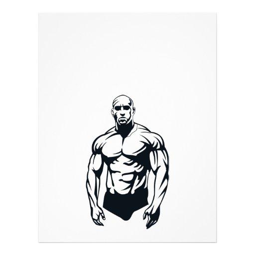 sports musculaires d'homme de body-builder_vector_ prospectus en couleur