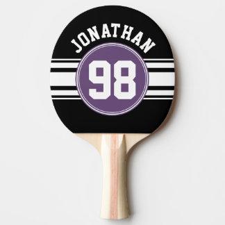 Sports nombre nommé de rayures noires et pourpres raquette tennis de table